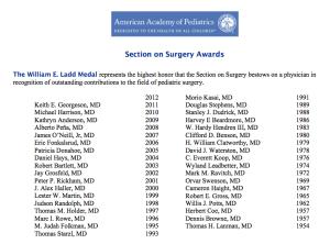 Ladd Medal d-American Academy of Pediatrics