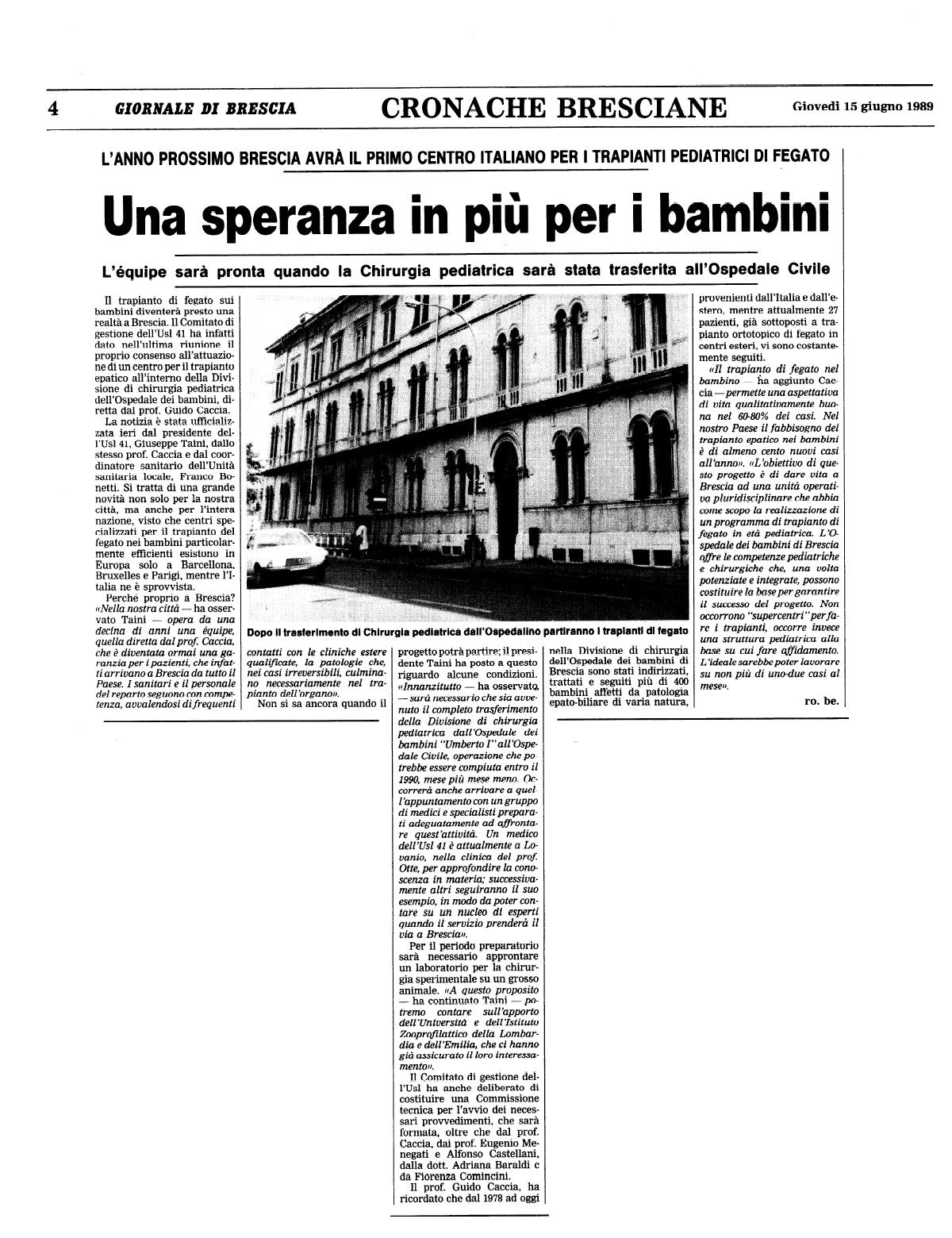 1989 06 15 Centro Trapianti Pediatrico